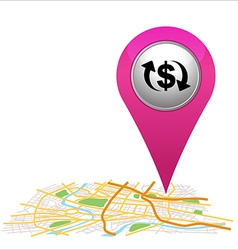 Money pointer on map location vector