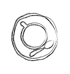 Monochrome sketch hand drawn of coffee cup top vector