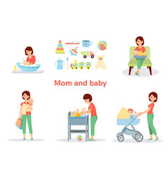 Mother and baby big set vector