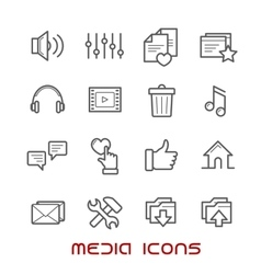 Multimedia and media thin line icons vector image