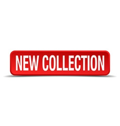 new collection red 3d square button isolated on vector image