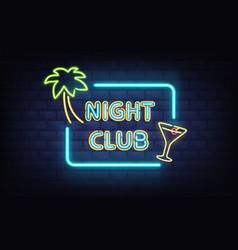 nightclub retro neon signboard realistic vector image