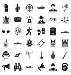 Officer icons set simple style vector