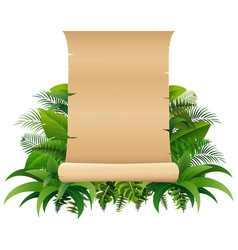 old rolled up paper scroll on the leaves vector image