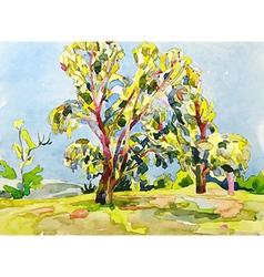 Original watercolor painting summer tree vector