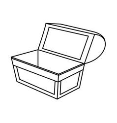 Outline open wooden chest box treasure vector