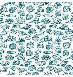 Pattern with seashells vector