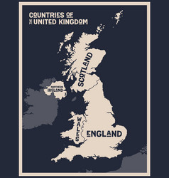 poster map countries united kingdom vector image