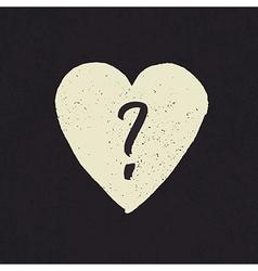 Question in heart shape grunge vector