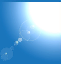 realistic sun burst with flare on blue vector image