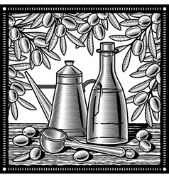 Retro olive oil still life black and white vector