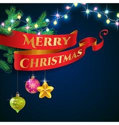 ribbon christmas garland vector image vector image