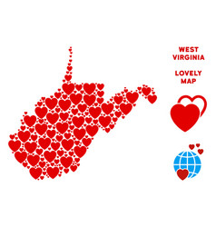 Romantic west virginia state map mosaic of vector