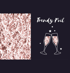 Rose gold foil texture icon glasses of champagne vector