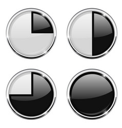 Round loading progress icon black and white sign vector