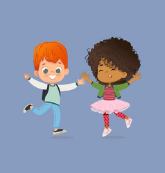 school kids boy and girl are happily jump together vector image