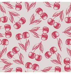 Seamless cherry pattern Fresh fruit skech vector image