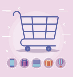 shopping cart with commercial icons vector image