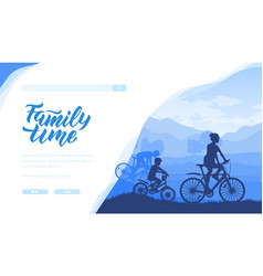 silhouette family riding bicycle in nature vector image