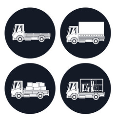 small trucks with different loads icons vector image