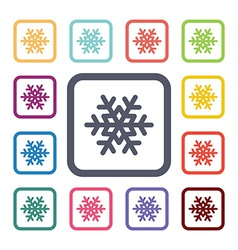 Snowflake flat icons set vector