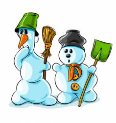 surprised winter snowmen with cleaning vector image