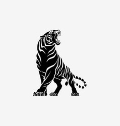 tiger roaring logo sign emblem vector image