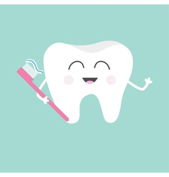 Tooth holding toothbrush with toothpaste Cute vector image