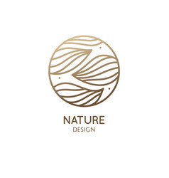 Tropical plant logo round linear emblem flower vector