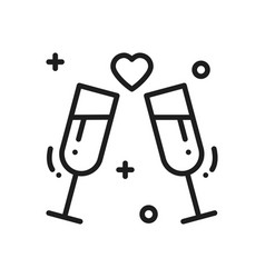 Two glasses romantic toast line icon wedding vector