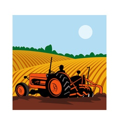 vintage tractor with farmer driving vector image