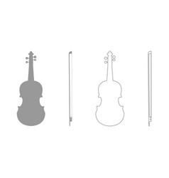Violin grey set icon vector