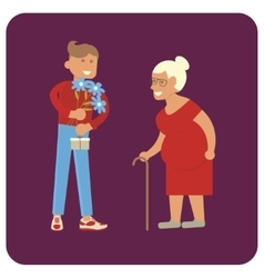 Volunteer man and old woman vector