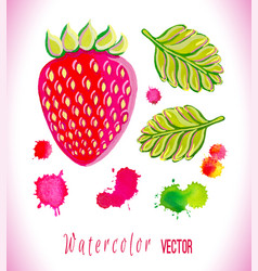 Watercolor strawberry art vector
