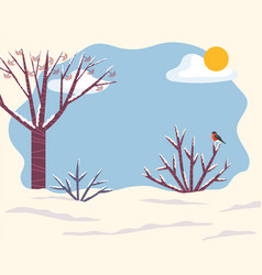 Winter landscape with snow on trees branches twigs vector