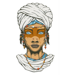 Woman in turban vector