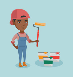 young african painter holding a paint roller vector image