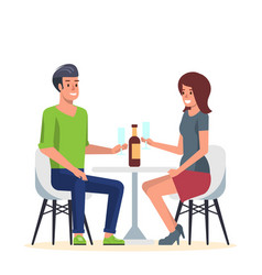 young couple in romantic date in cafe flat vector image