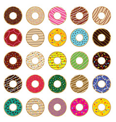 donuts fresh and sweet set vector image vector image