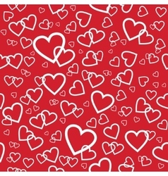 red seamless pattern with random hearts vector image vector image