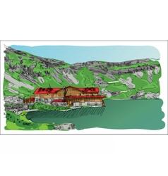 Digital sketch landscape lake vector image