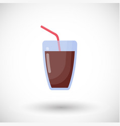 glass of cola drink flat icon vector image