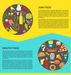 healthy and fast food vector image vector image