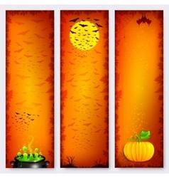 Orange Halloween banners backgrounds set vector image