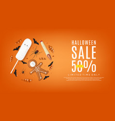 orange web banner with treats for halloween sale vector image