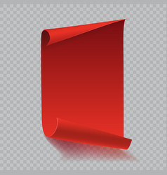 red curved paper scroll with shadow on white vector image vector image