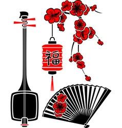 Set of Japanese art shamisen sakura fan and light vector image