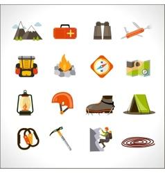 Climbing icons set vector