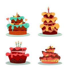 dessert cakes with cream and chocolate candle vector image