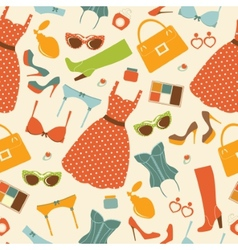 Fashion elements seamless pattern vector image vector image